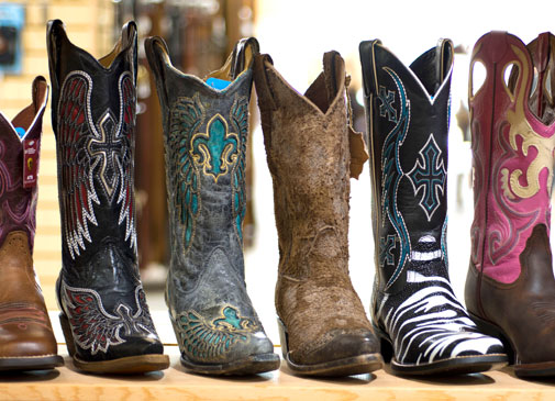 Boots on boots on boots.